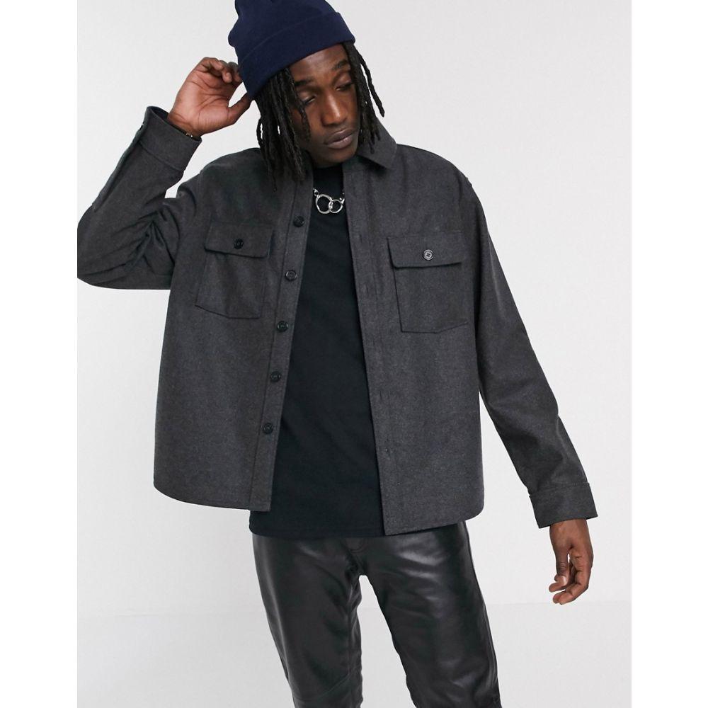 ウィークデイ Weekday メンズ シャツ トップス【Skipper worker shirt in black melange】Black