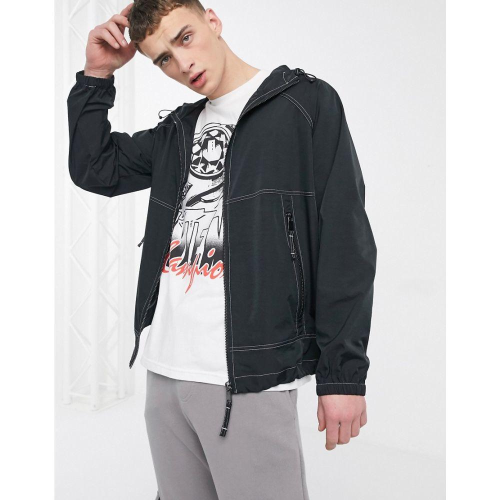 アンタント Entente メンズ ジャケット フード アウター【hooded jacket with contrast stitch in black】Black