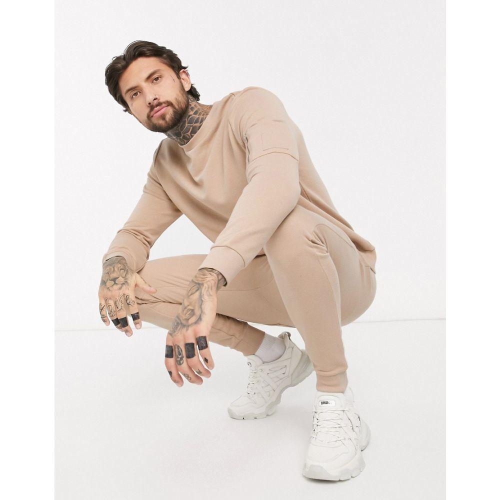 エイソス ASOS DESIGN メンズ ジャージ アウター【tracksuit with MA1 pockets in beige】Sesame