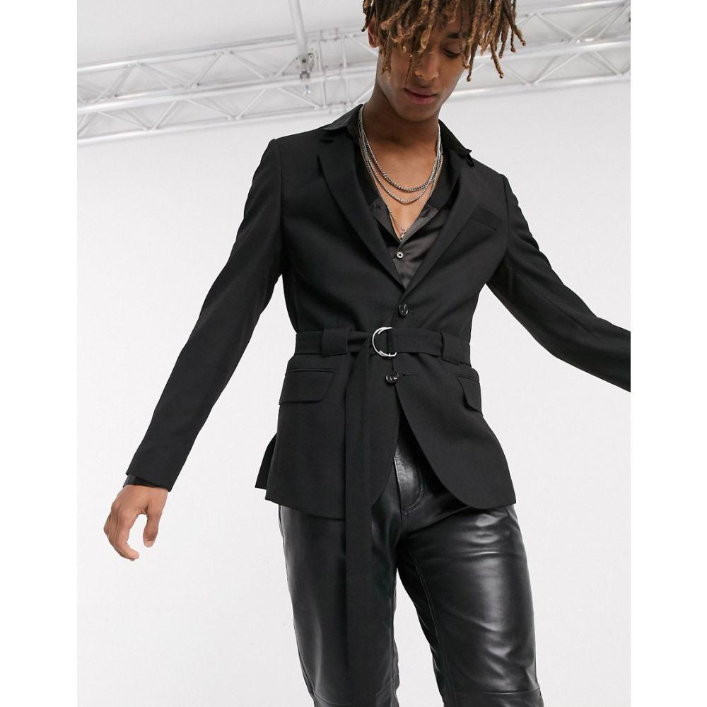 エイソス ASOS DESIGN メンズ スーツ・ジャケット アウター【skinny belted blazer in black】Black
