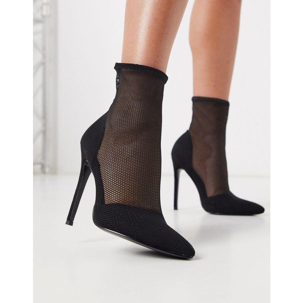 エイソス ASOS DESIGN レディース ブーツ シューズ・靴【Estelle mesh sock boots in black mesh】Black mesh