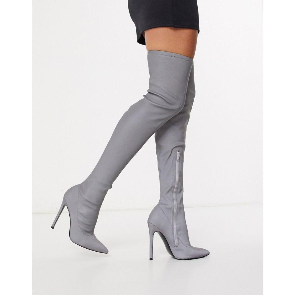 エイソス ASOS DESIGN レディース ブーツ ピンヒール シューズ・靴【Kendra stiletto thigh high boots in reflective】Reflective