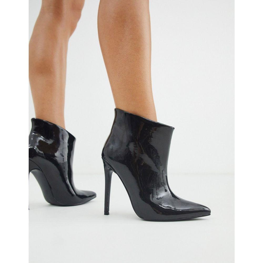 エイソス ASOS DESIGN レディース ブーツ ショートブーツ シューズ・靴 Effortless pull on ankle boots in black patent Black patentb6IvyYf7g