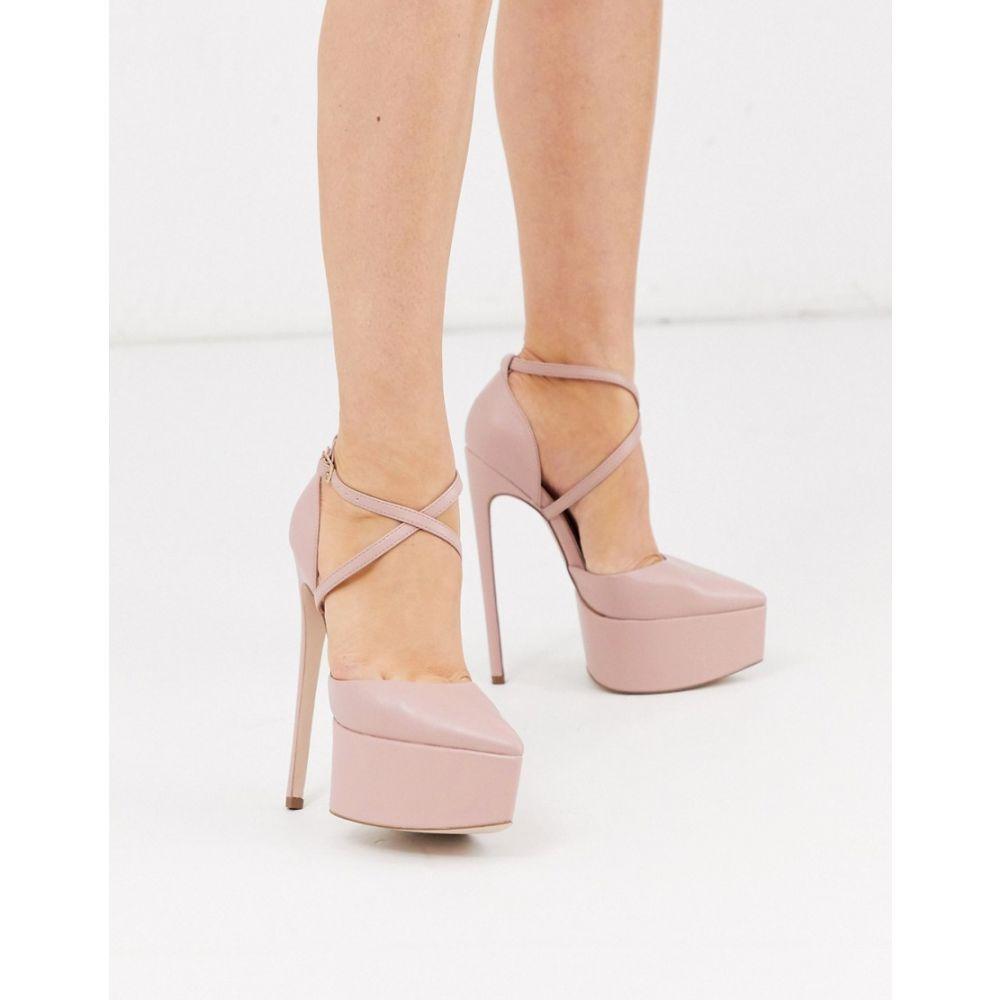 エイソス ASOS DESIGN レディース ヒール ピンヒール シューズ・靴【Perplex pointed platform stiletto heels in beige】Beige
