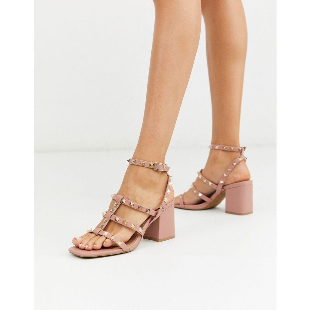 エイソス ASOS DESIGN レディース サンダル・ミュール シューズ・靴【Haiti studded blocked heeled sandals in beige】Beige
