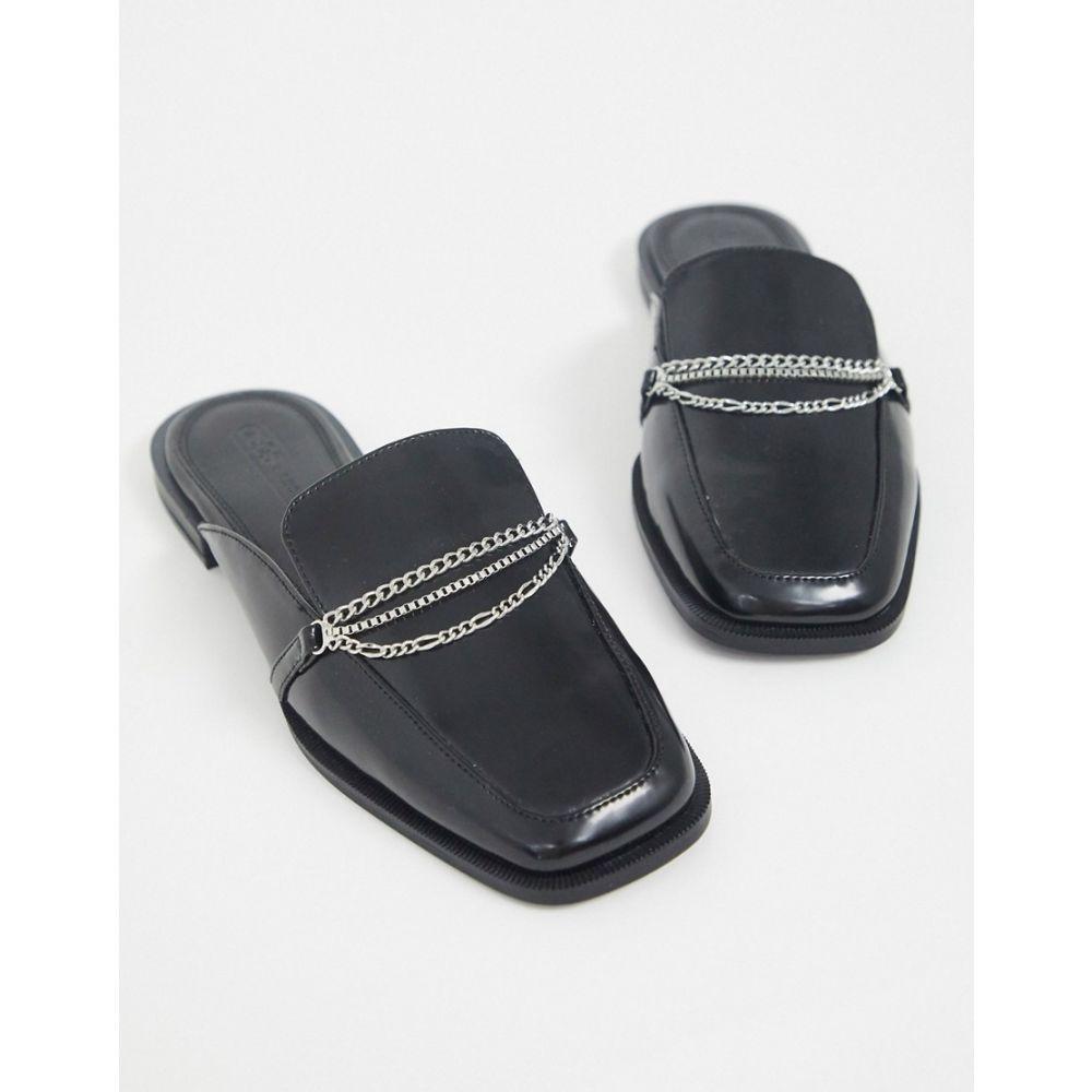 エイソス ASOS DESIGN レディース ローファー・オックスフォード スクエアトゥ シューズ・靴【Miriam chain detail square toe loafers in black】Black