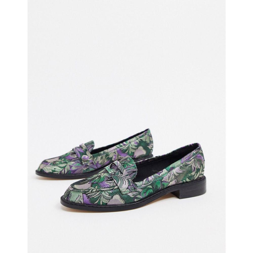 エイソス ASOS DESIGN レディース ローファー・オックスフォード シューズ・靴【Mantra loafer flat shoes in jacquard】Jacquard
