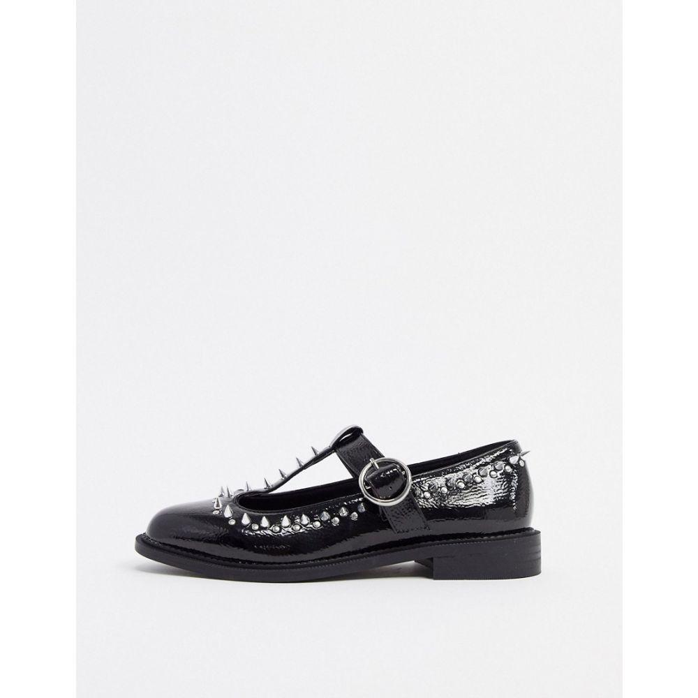 エイソス ASOS DESIGN レディース スリッポン・フラット シューズ・靴【Mercy studded flat shoes in black】Black