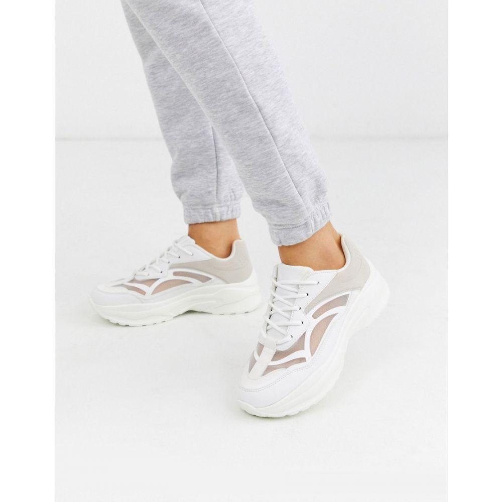 エイソス ASOS DESIGN レディース スニーカー チャンキーヒール シューズ・靴【Daily chunky trainers in white】White/off white