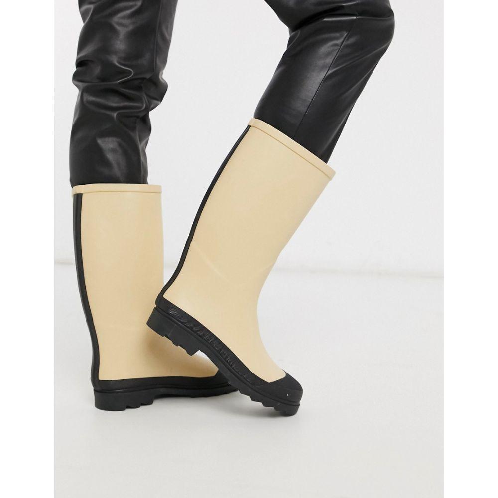 エイソス ASOS DESIGN レディース ブーツ シューズ・靴【Goal mud guard wellies in beige】Beige/black