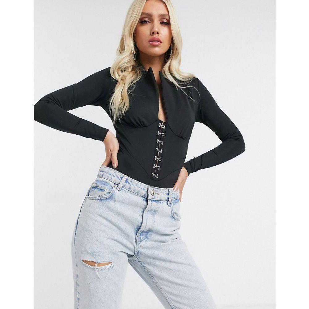 エイソス ASOS DESIGN レディース ボディースーツ インナー・下着【tux corset bodysuit in black】Black