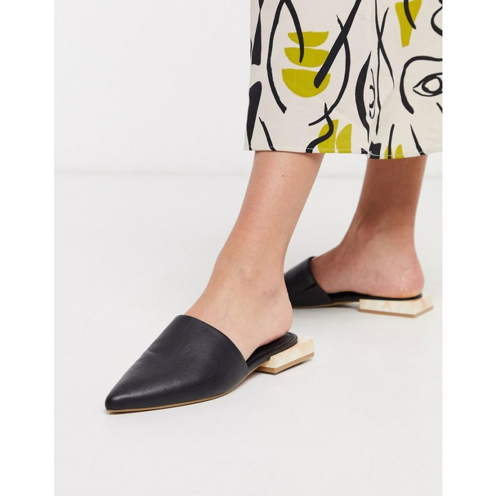 エイソス ASOS DESIGN レディース スリッポン・フラット シューズ・靴【Magic pointed flat shoes in black with marble heel】Black/marble