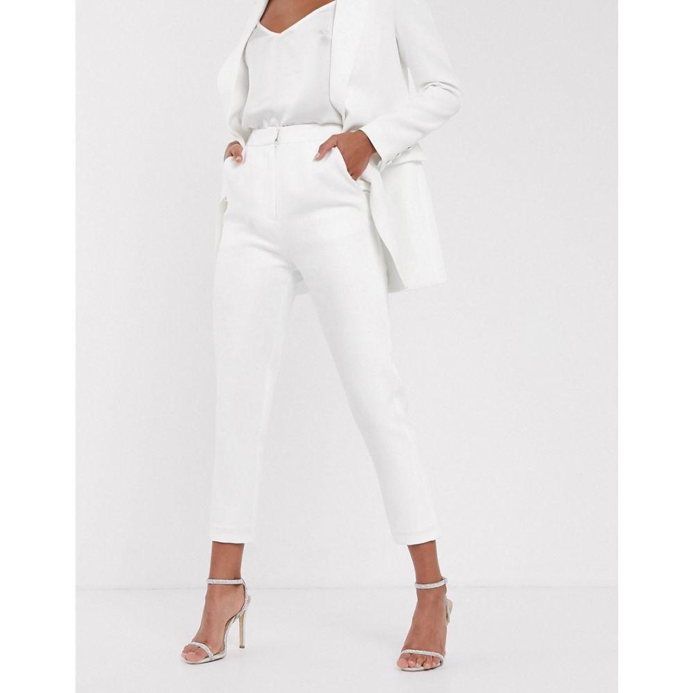 エイソス ASOS EDITION レディース スキニー・スリム ボトムス・パンツ【ASOS EDITON slim tapered wedding trouser】Ivory