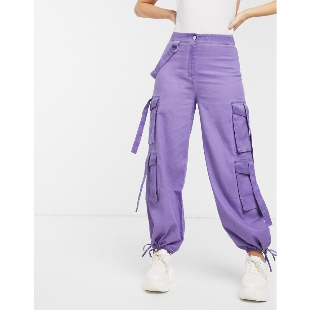 エイソス ASOS DESIGN レディース ボトムス・パンツ 【purple oil wash combat with strapping】Purple