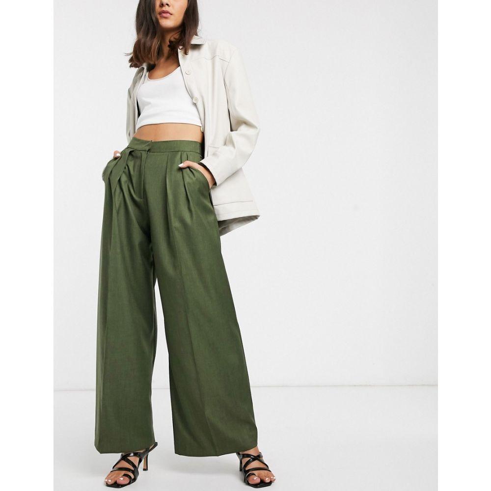 エイソス ASOS WHITE レディース ボトムス・パンツ 【pleat front trouser】Green