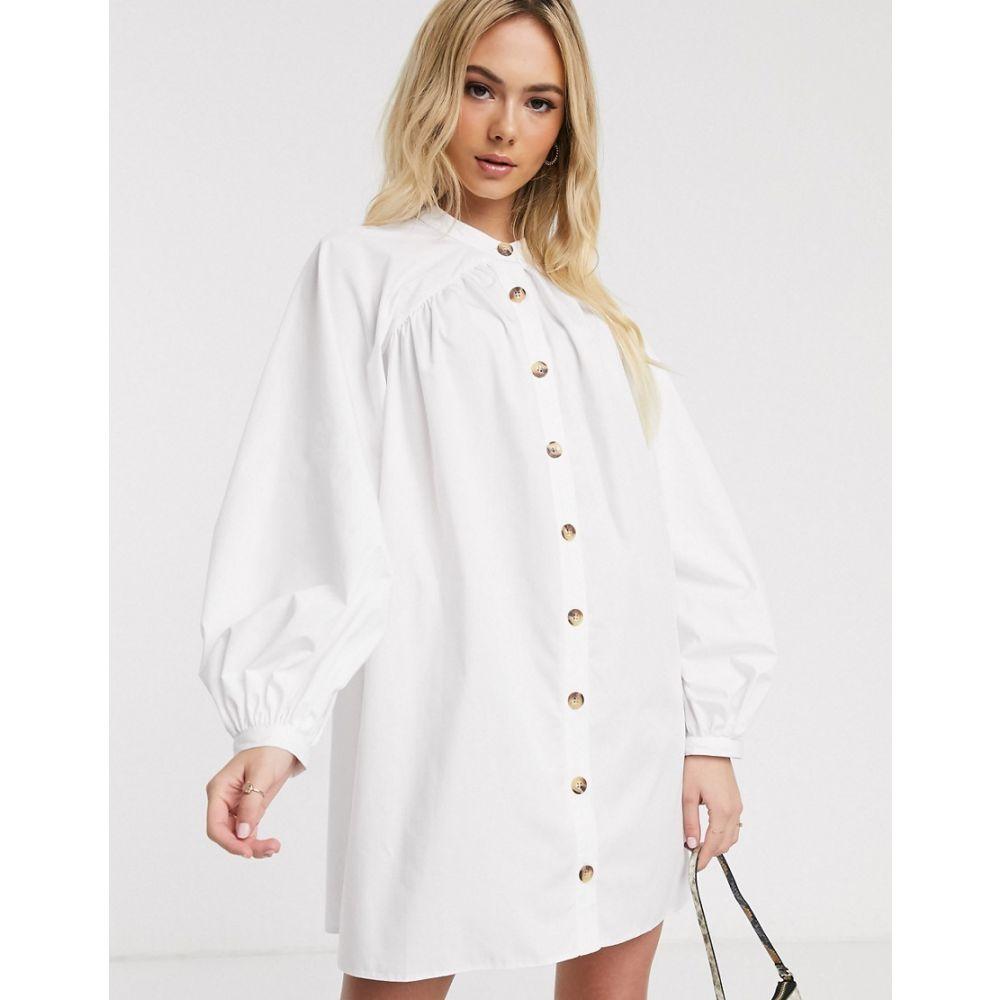 エイソス ASOS DESIGN レディース ワンピース ミニ丈 ワンピース・ドレス【mini cotton trapeze dress with button through in khaki】White