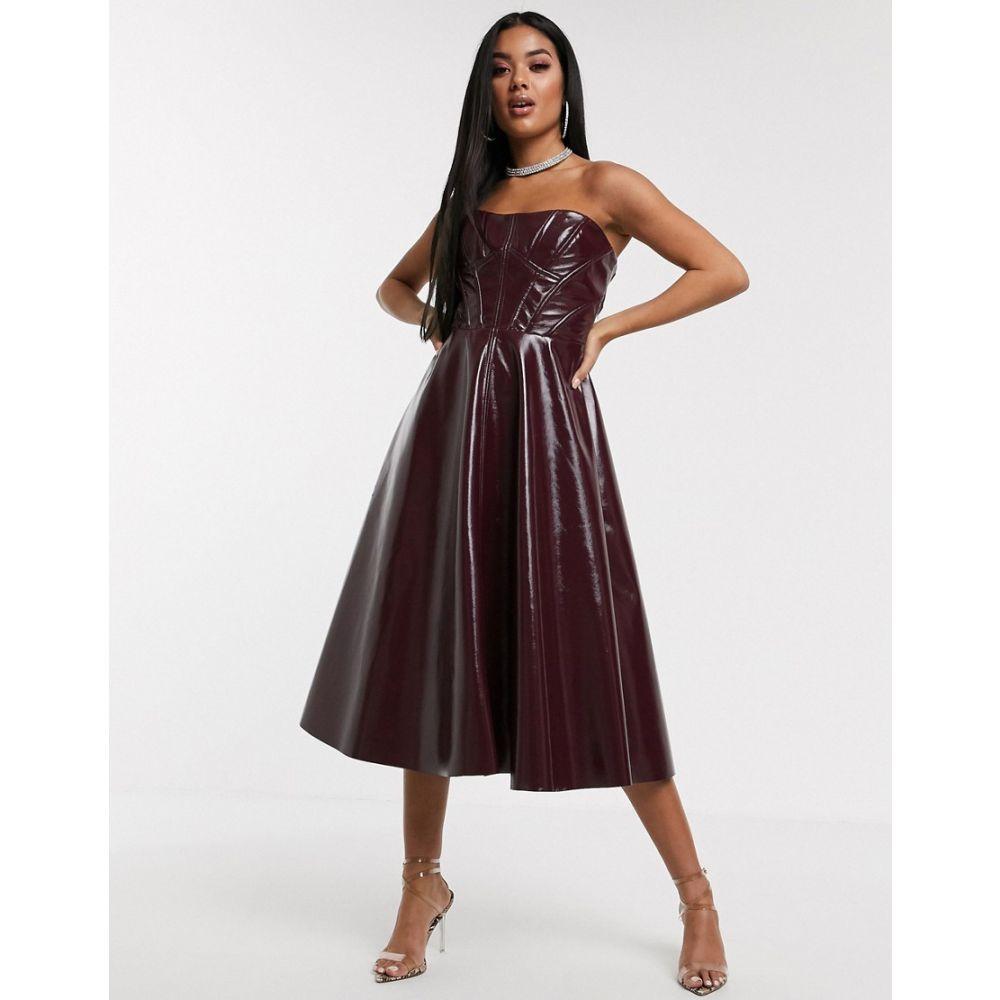 エイソス ASOS DESIGN レディース ワンピース ミドル丈 ワンピース・ドレス【Premium corseted vinyl bandeau midi prom dress】Oxblood