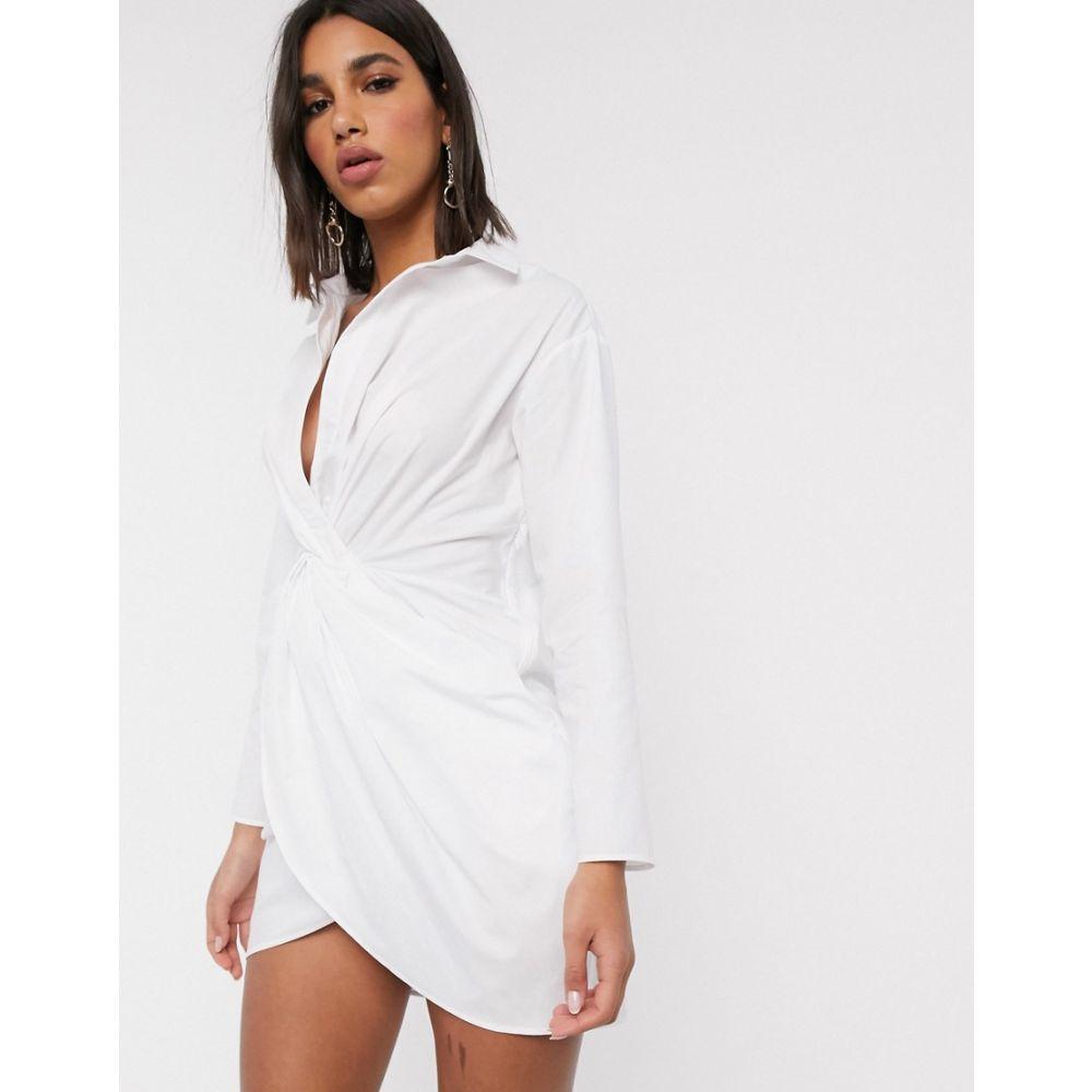 エイソス ASOS DESIGN レディース ワンピース ラップドレス シャツワンピース ワンピース・ドレス【twist front wrap shirt dress in white】White
