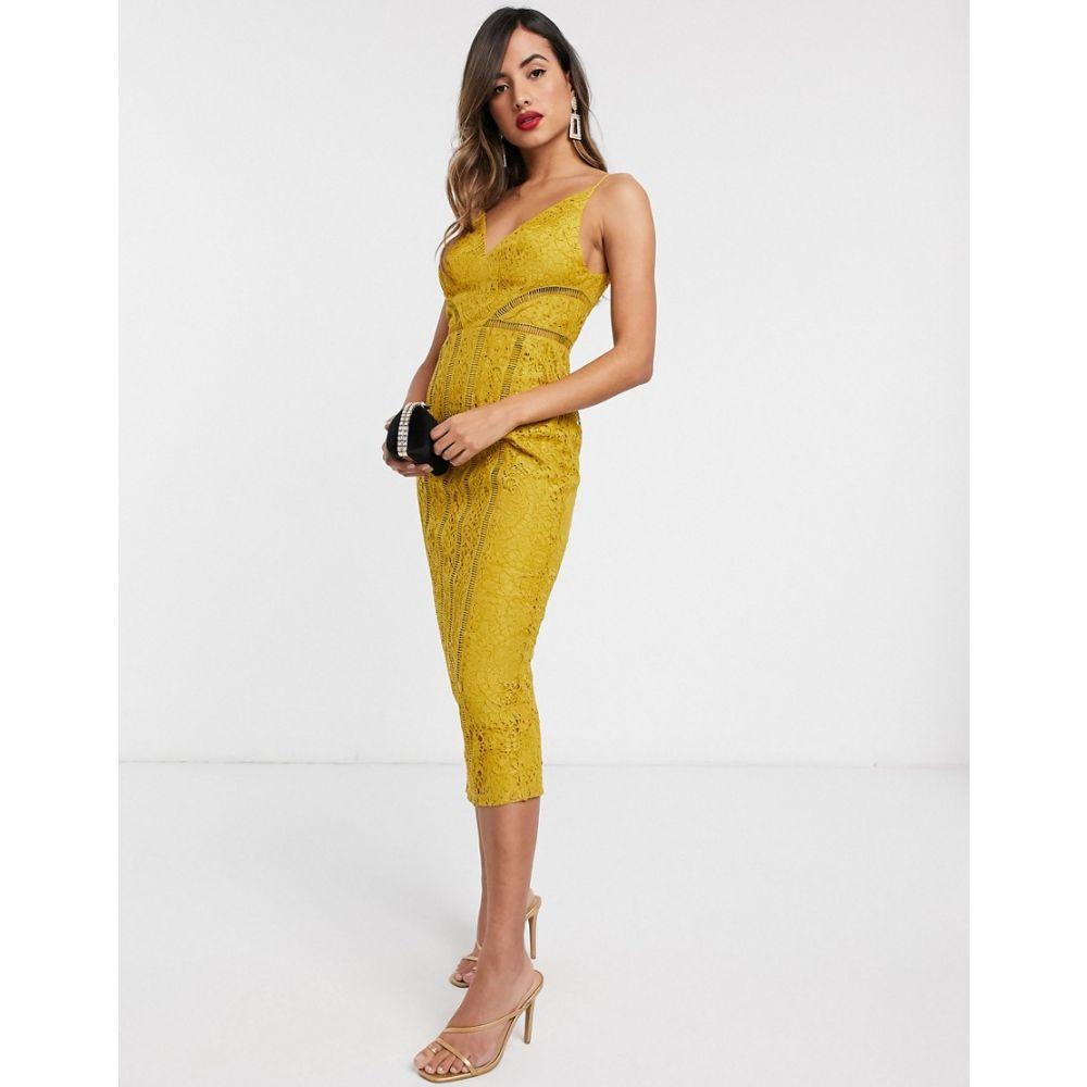 エイソス ASOS DESIGN レディース ワンピース ミドル丈 ワンピース・ドレス【lace midi dress with ladder trim detail】Mustard