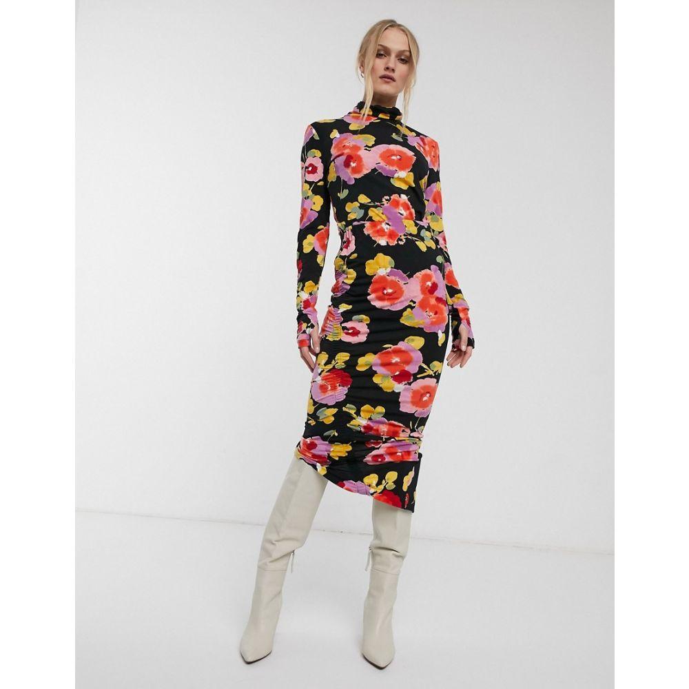 エッセンシャル Essentiel Antwerp レディース ひざ丈スカート スカート【Vignol all over print ruched side midi skirt】Jazzy pink