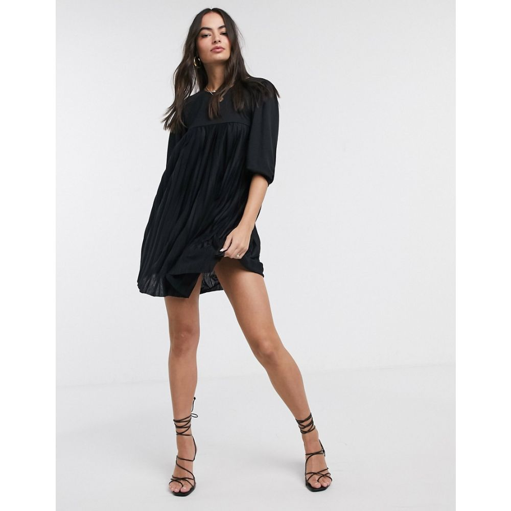 エイソス ASOS DESIGN レディース ワンピース ミニ丈 ワンピース・ドレス【mini pleated smock dress with puff sleeve in black】Black