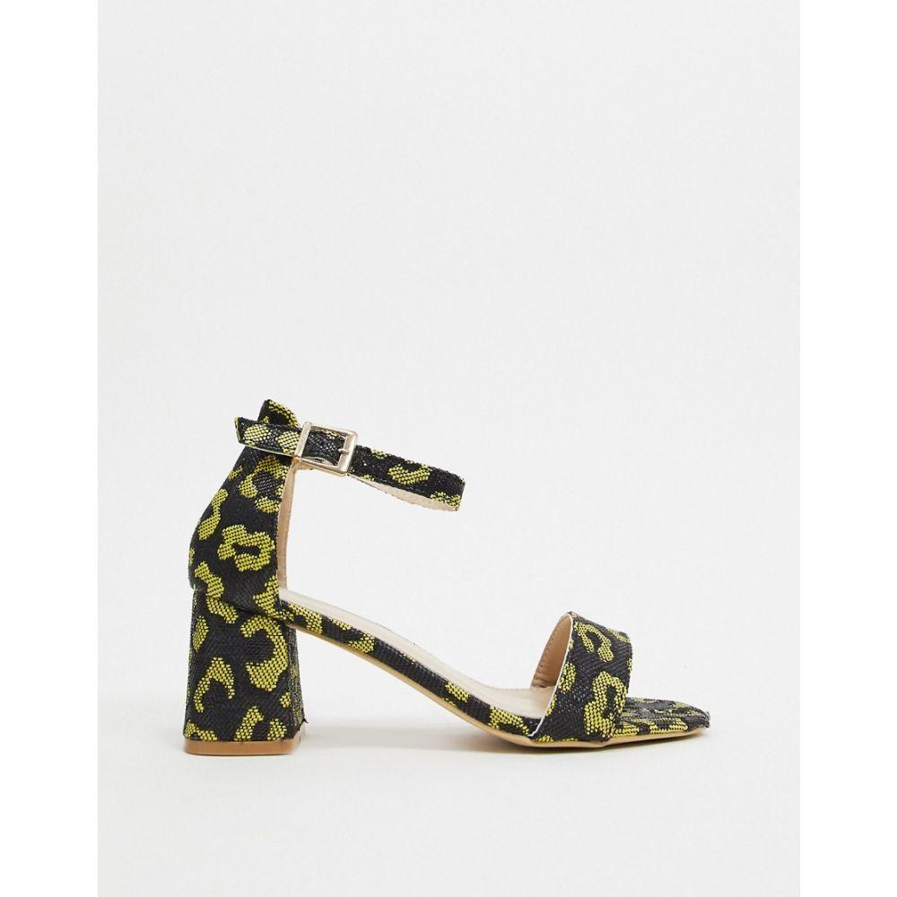 グラマラス Glamorous レディース サンダル・ミュール シューズ・靴【block heels in bright leopard print】Yellow leopard