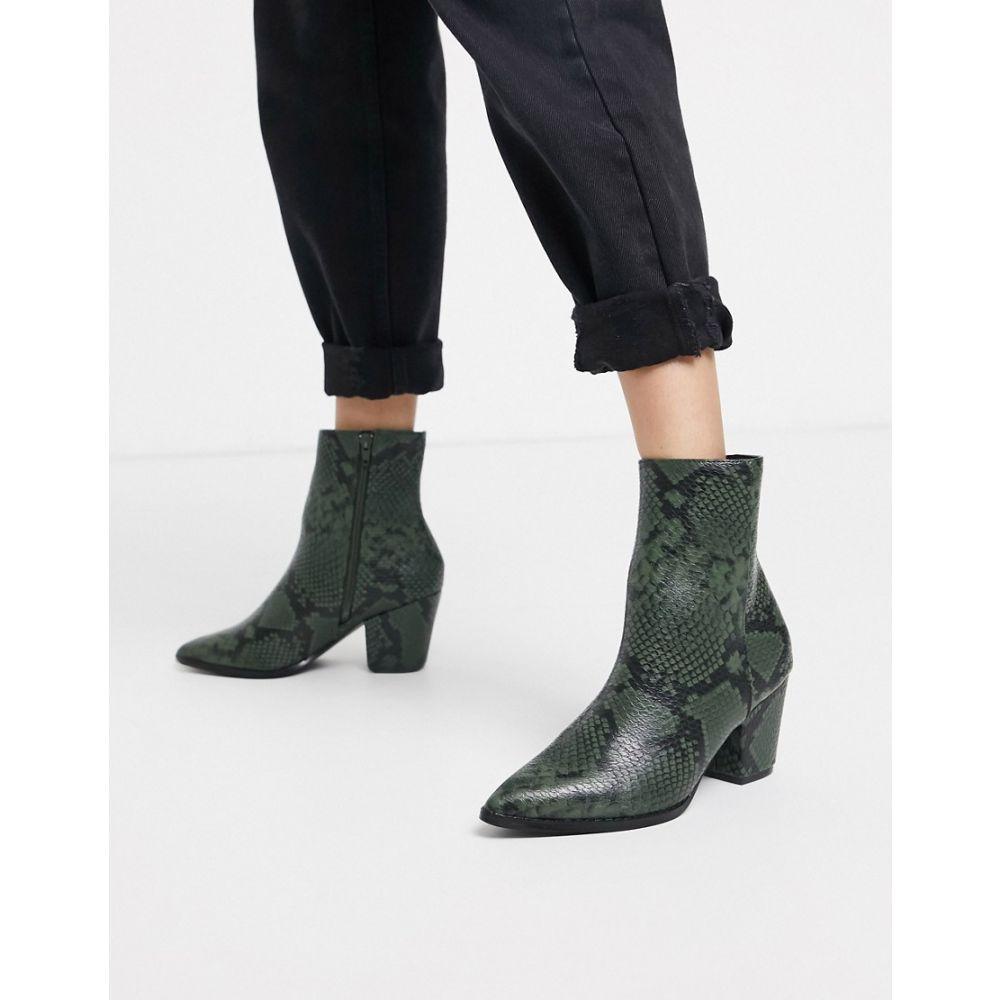 グラマラス Glamorous レディース ブーツ シューズ・靴【heeled boots in snake】Green