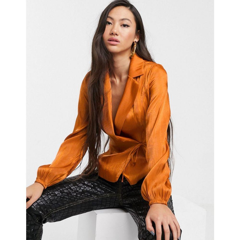 グラマラス Glamorous レディース ブラウス・シャツ トップス【tailored blouse with tie front in luxe satin】Rich brown