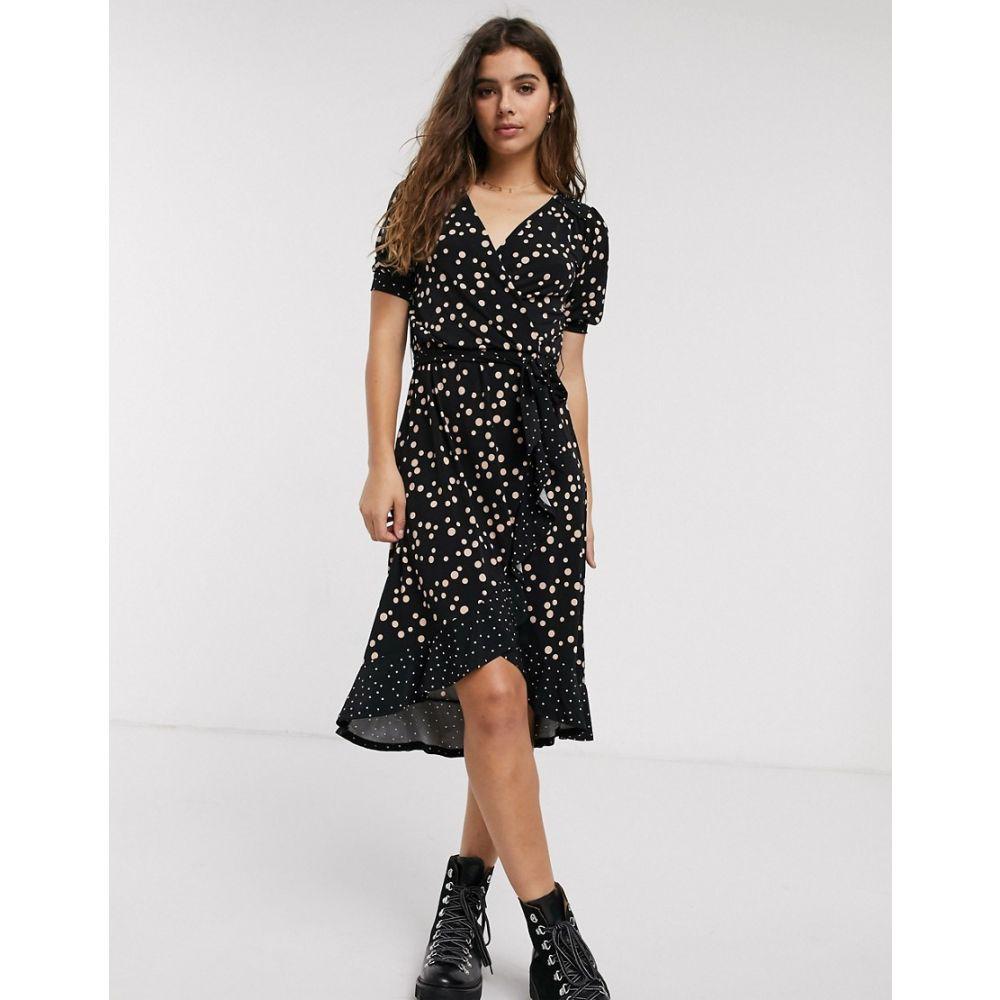 オアシス Oasis レディース ワンピース ラップドレス ミドル丈 ワンピース・ドレス【midi wrap dress with ruffles in polka dot】Multi black