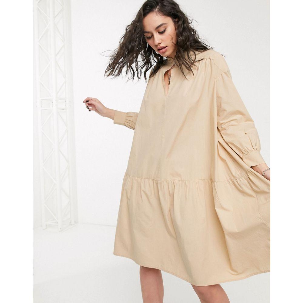 オンリー Only レディース ワンピース ワンピース・ドレス【cotton smock dress with tie neck in beige】Beige