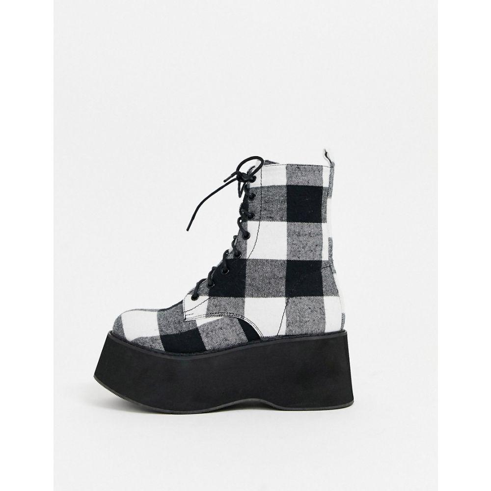 コイフットウェア Koi Footwear レディース ブーツ ショートブーツ シューズ・靴【Krillen flatform ankle boot in large check print in black】Black