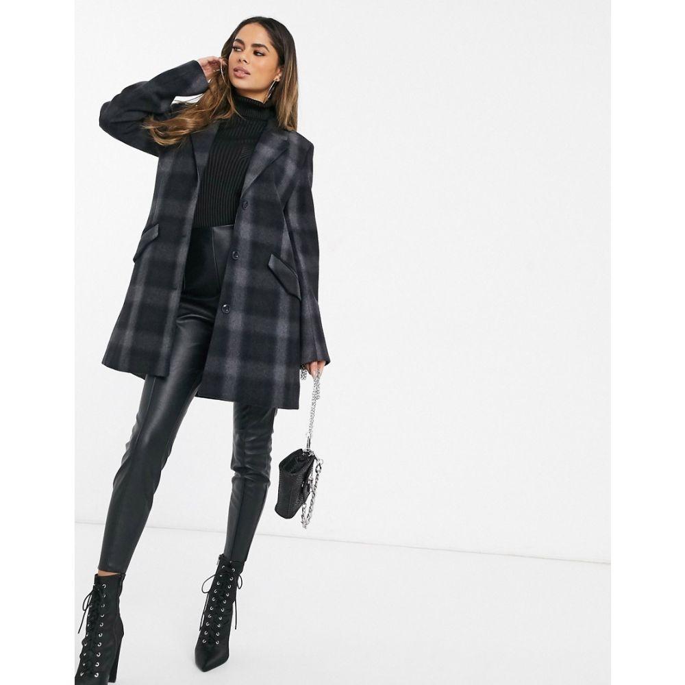 ジースター ロゥ G-Star レディース コート アウター【minor wool check coat】Gs grey/black