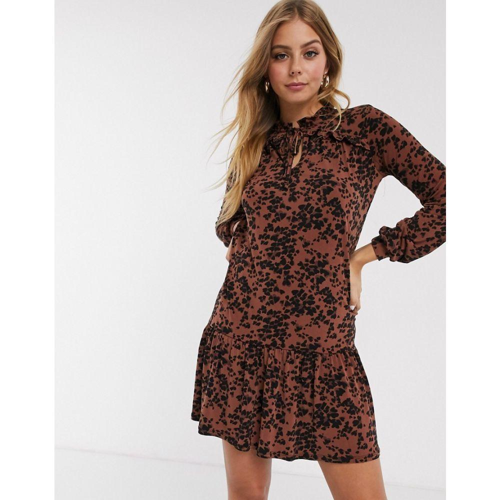 オアシス Oasis レディース ワンピース ワンピース・ドレス【leopard print drop waist dress in brown】Multi natural