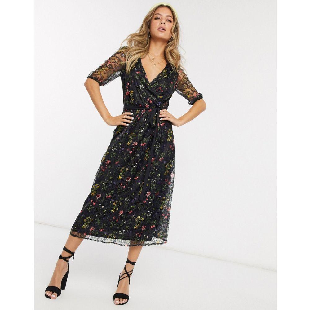オアシス Oasis レディース ワンピース ミドル丈 ワンピース・ドレス【lace floral midi dress with in black】Multi black