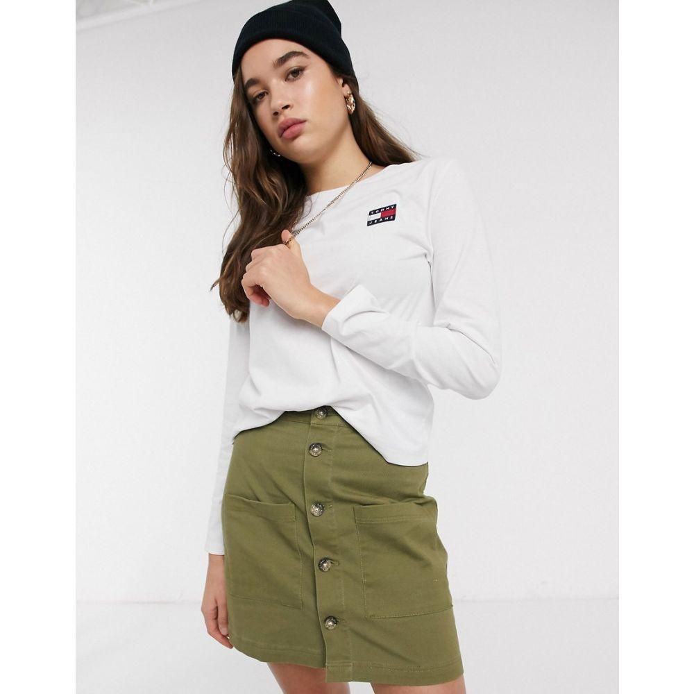 トミー ジーンズ Tommy Jeans レディース 長袖Tシャツ トップス【recycled badge long sleeve t-shirt】Classic white