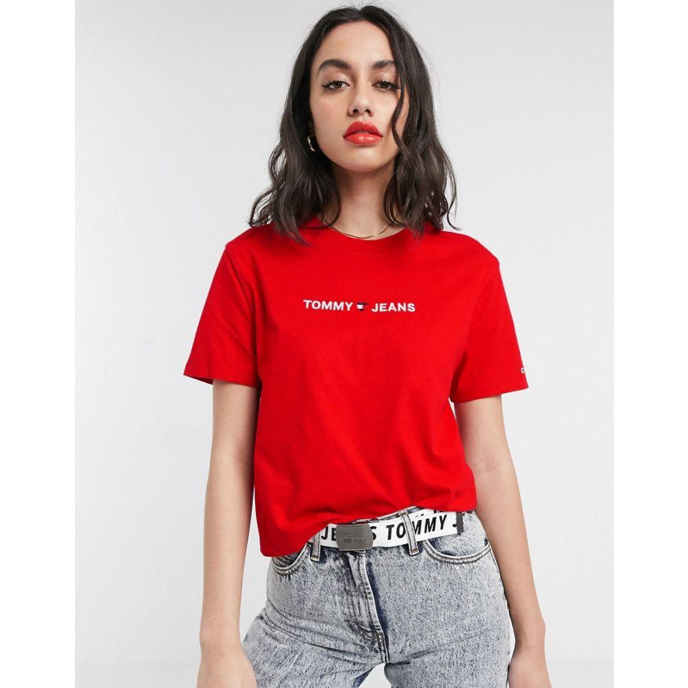 トミー ジーンズ Tommy Jeans レディース Tシャツ トップス【organic cotton linear logo t-shirt】Racing red
