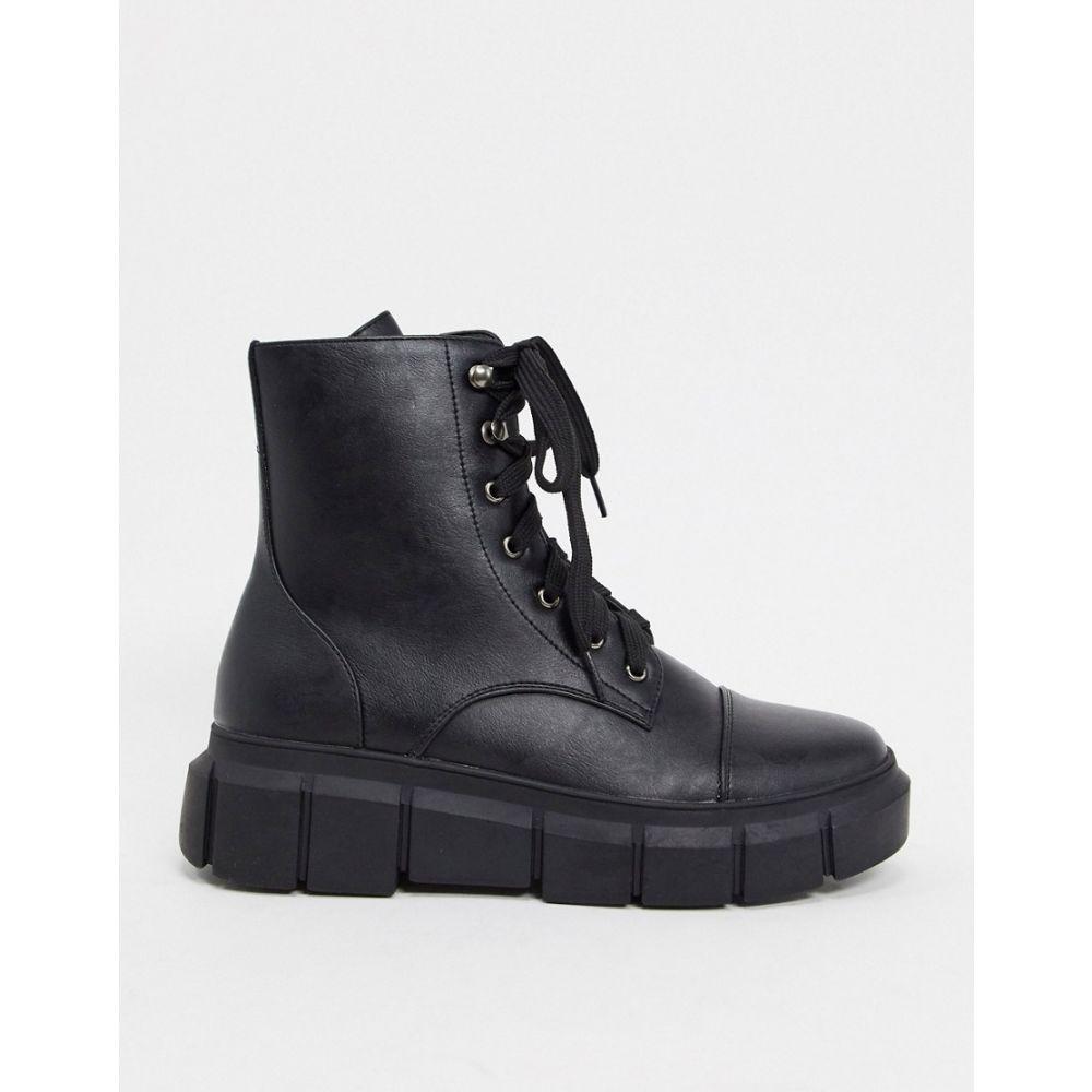 トリュフコレクション Truffle Collection レディース ブーツ ショートブーツ レースアップブーツ シューズ・靴【chunky lace up ankle boots in black】Black