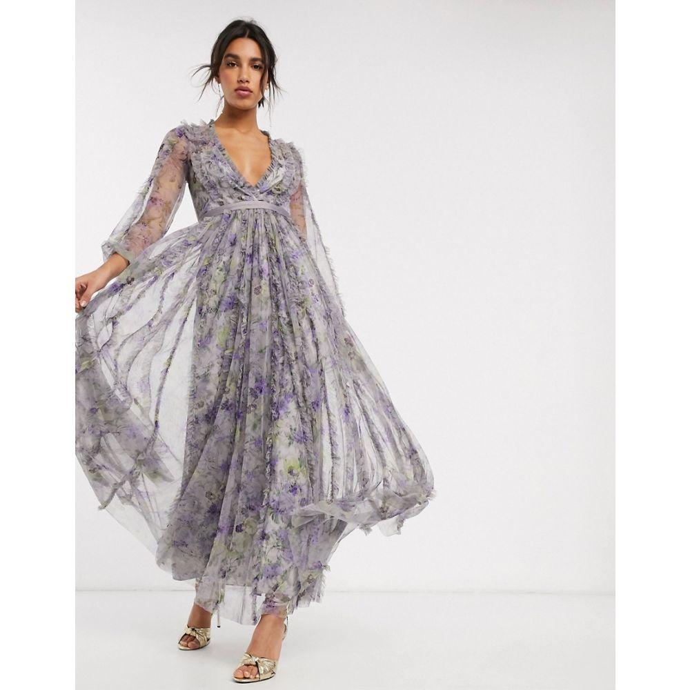 ニードル アンド スレッド Needle & Thread レディース ワンピース ワンピース・ドレス【maxi dress with contrast waistband in purple floral print】Lavender