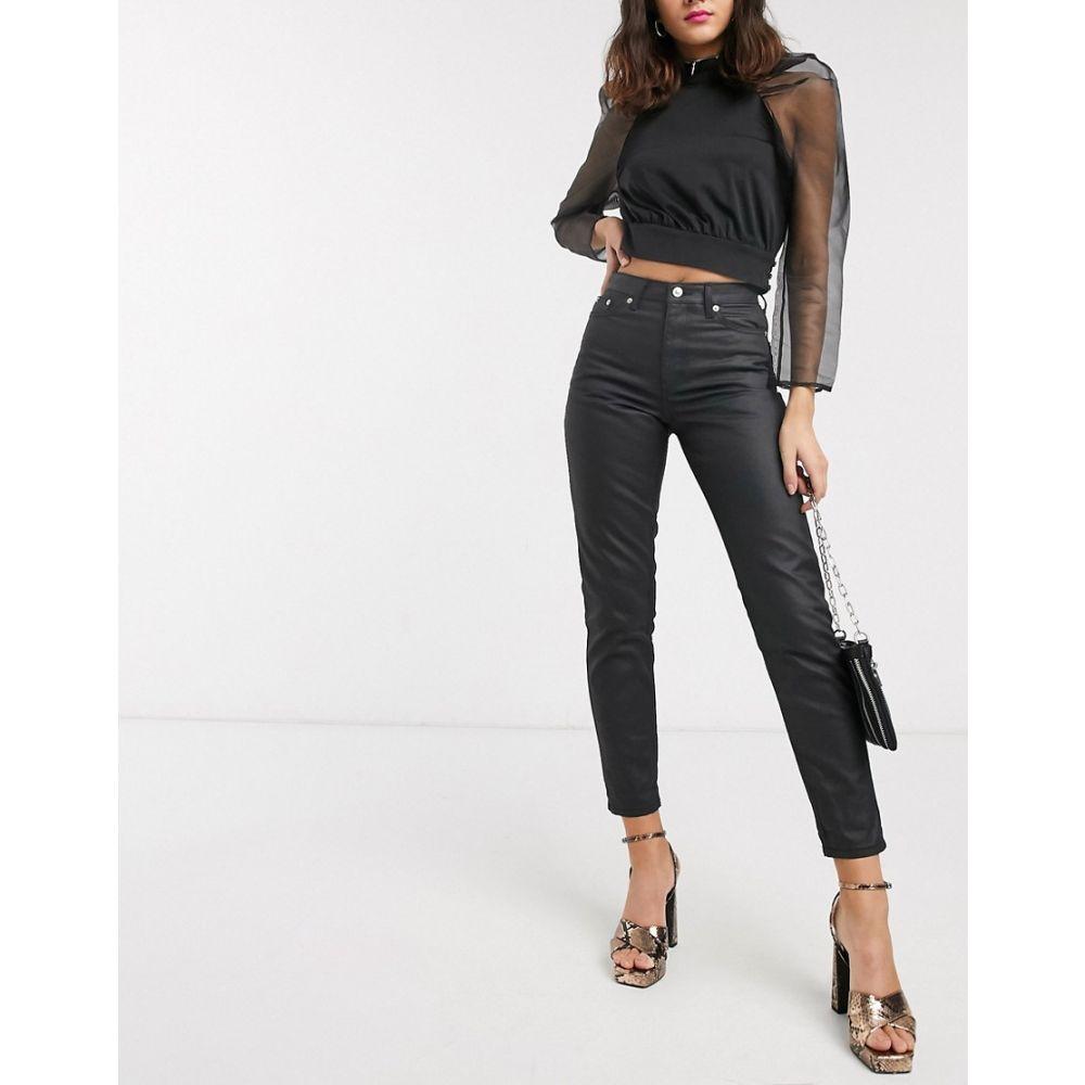 トップショップ Topshop レディース ジーンズ・デニム ボトムス・パンツ【coated mom jeans in black】Black