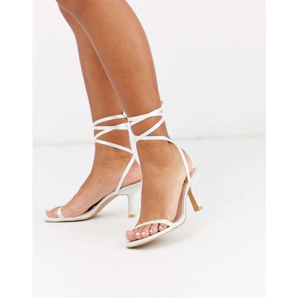 ビーマイン Be Mine レディース サンダル・ミュール シューズ・靴【Bridal Levinia ankle tie heeled sandals in ivory satin】Ivory satin
