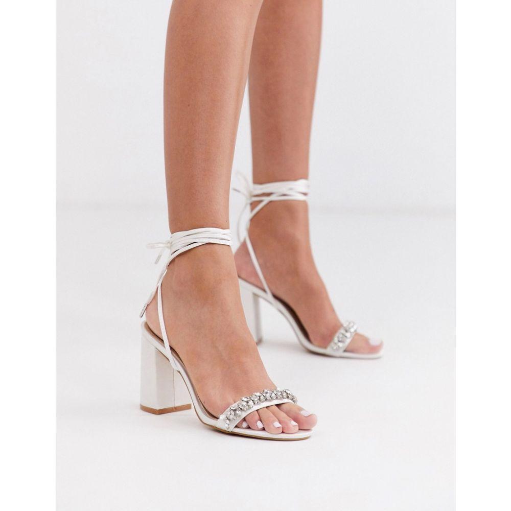 ビーマイン Be Mine レディース サンダル・ミュール シューズ・靴【Bridal Penelope heeled sandals with embellished strap in ivory satin】Ivory satin