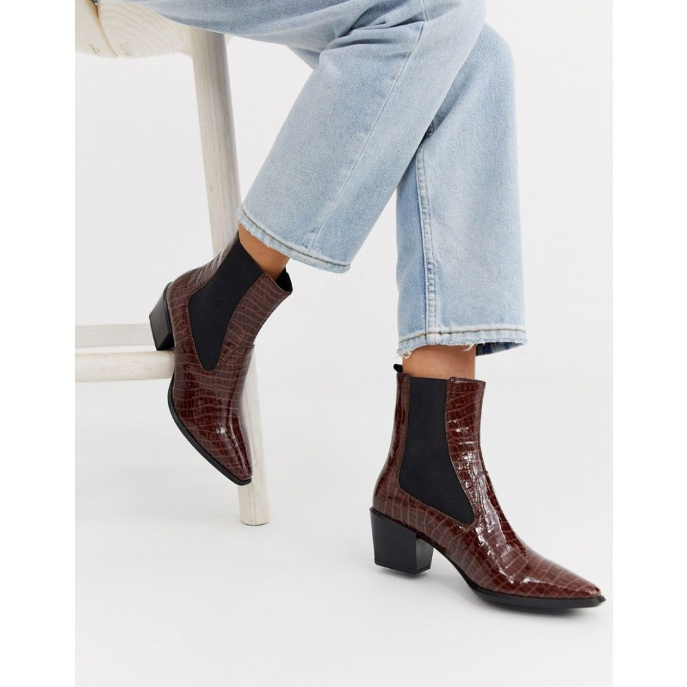 バガボンド Vagabond レディース ブーツ シューズ・靴【Betsy leather mid heel anle boots in brown croc】Brown