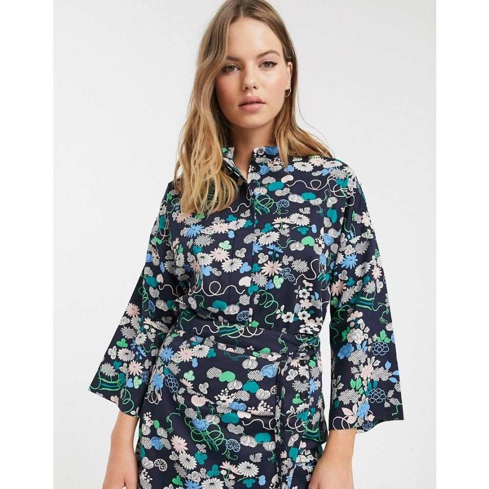 ピープル ツリー People Tree レディース トップス 【x V&A organic cotton kimono shirt in floral print co-ord】Blue