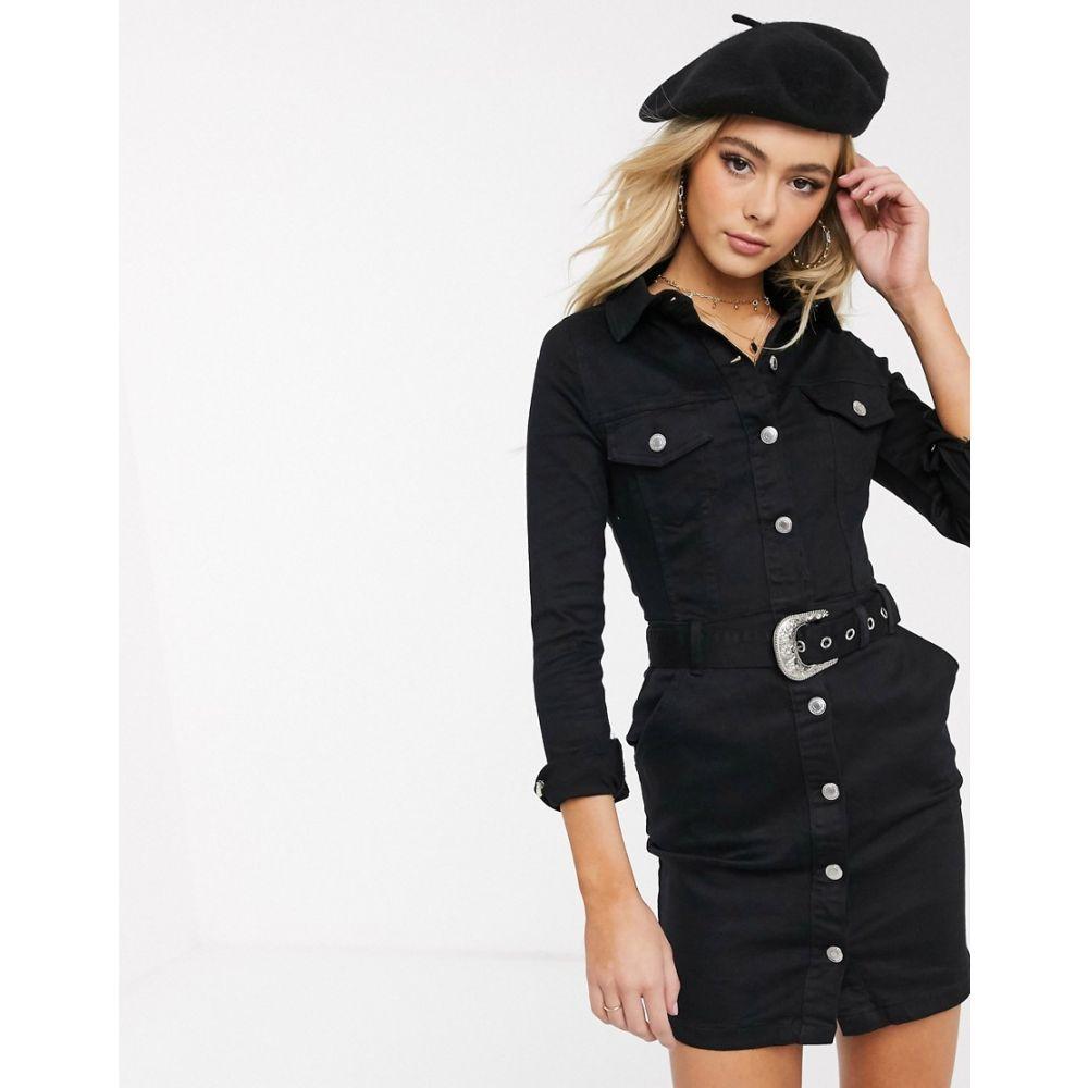 パリジャン Parisian レディース ワンピース デニム シャツワンピース ワンピース・ドレス【denim shirt dress with western belt】Black