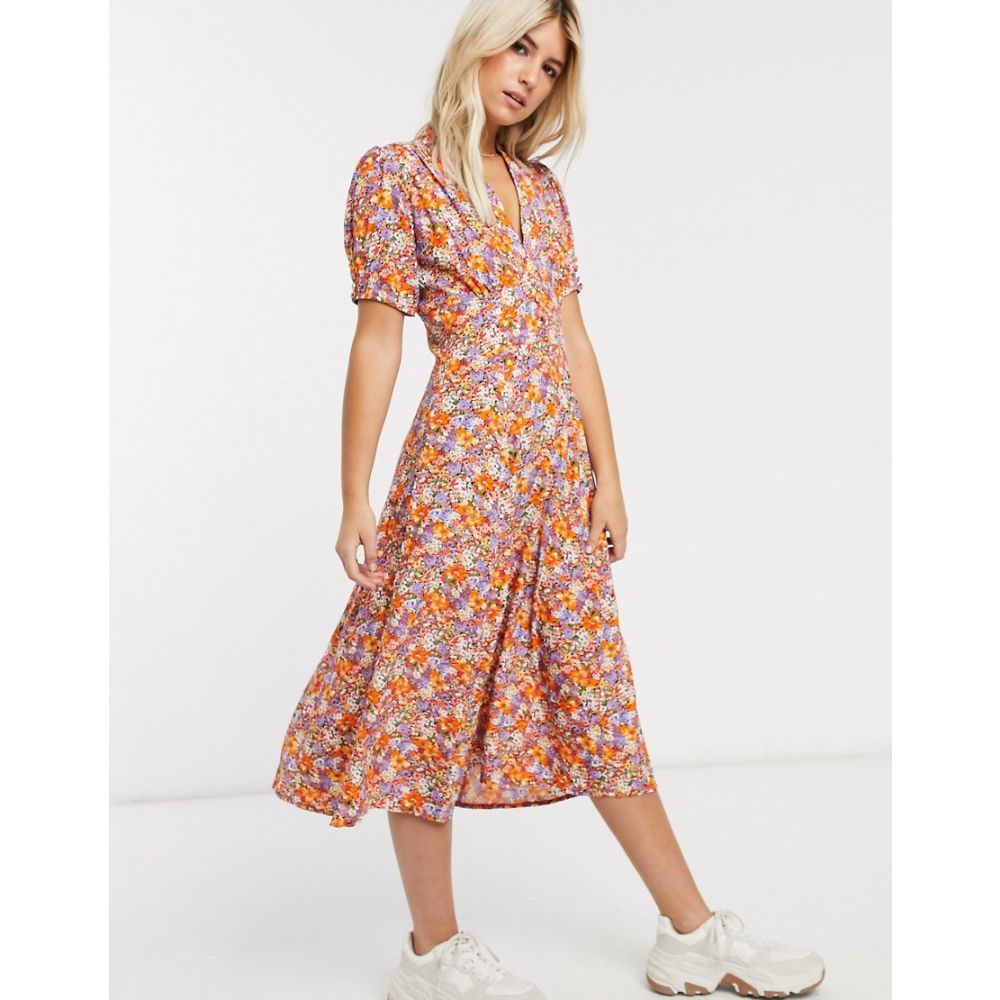 フェイスフルザブランド Faithfull the Brand レディース ワンピース ワンピース・ドレス【Faithfull meadows floral print short sleeve midi dress】Meja floral print