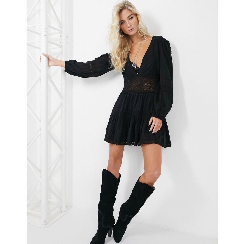 フリーピープル Free People レディース ワンピース ティアードドレス ワンピース・ドレス【tiered mini dress】Black