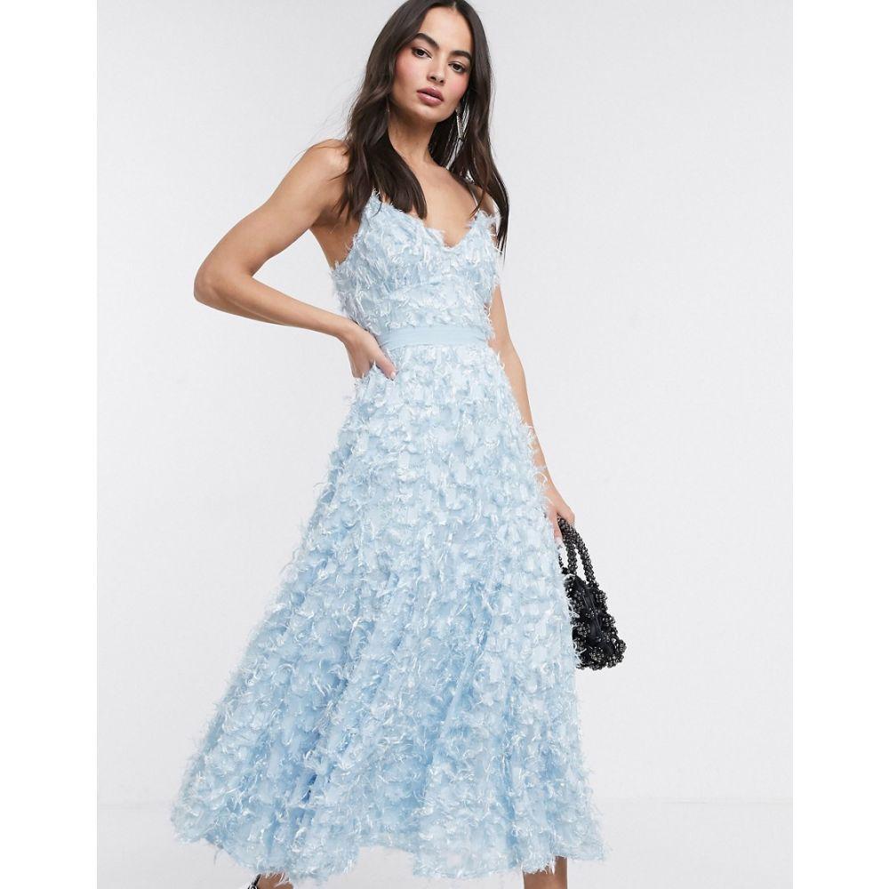 フォーエバー ユー Forever U レディース ワンピース ミドル丈 ワンピース・ドレス【midi dress with fringe 3D fabrication in powder blue】Ice blue