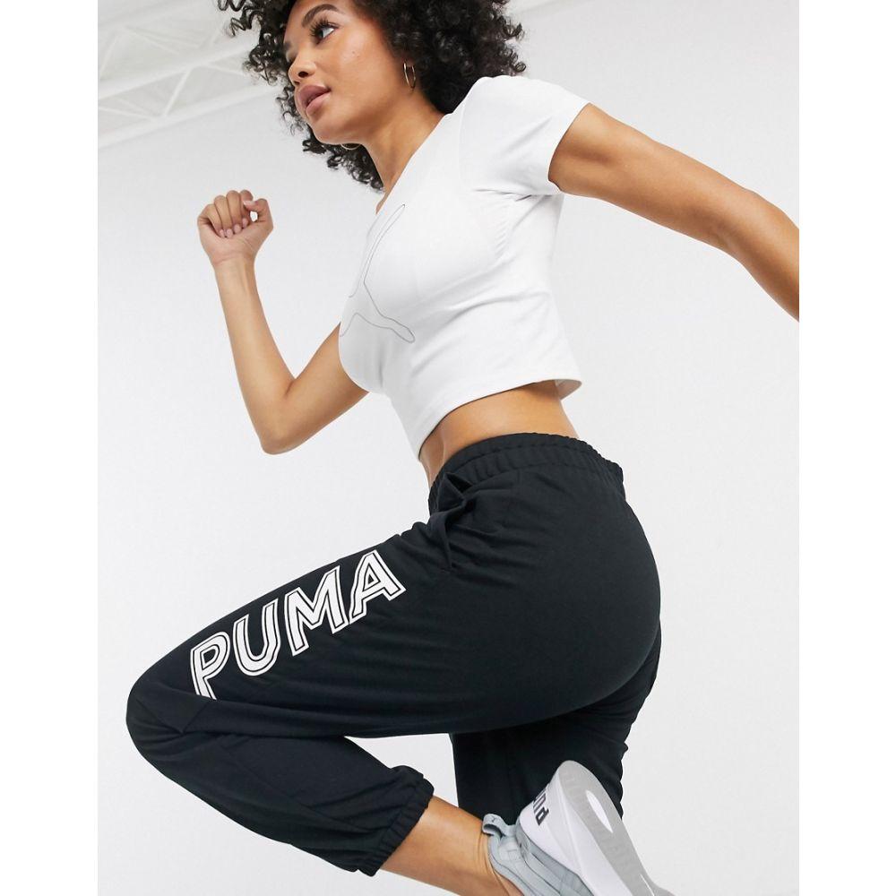 プーマ Puma レディース ジョガーパンツ ボトムス・パンツ【logo joggers in black】Black