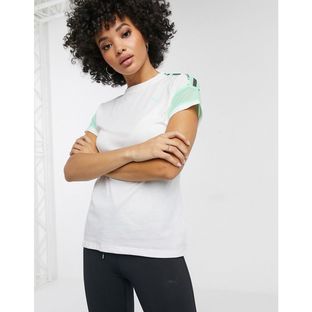 プーマ Puma レディース Tシャツ トップス【logo mesh t-shirt in white and green】White