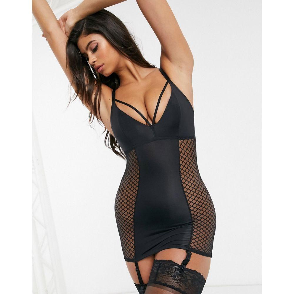 ポアモア Pour Moi レディース ガーターベルト キャミワンピ インナー・下着【Illicit cami suspender dress in black】Black